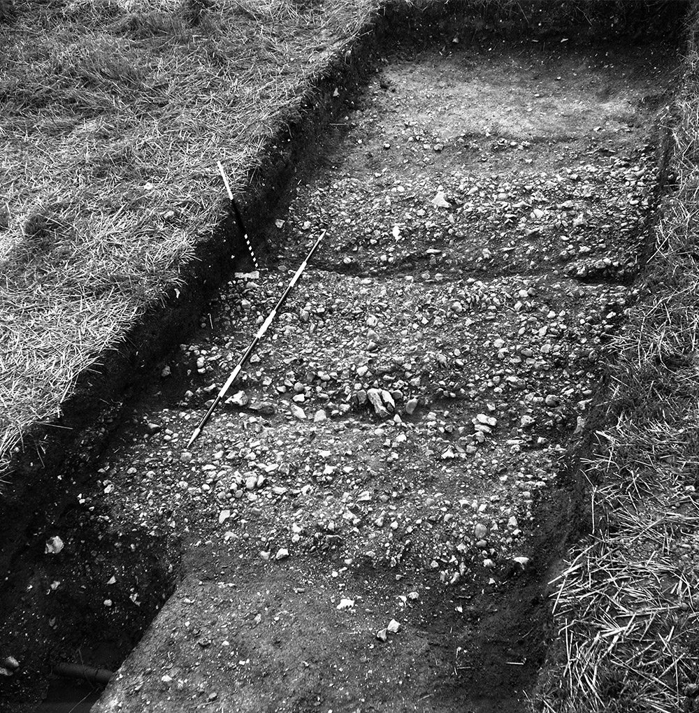 Cobbled surfaces with ruts from cart-wheels